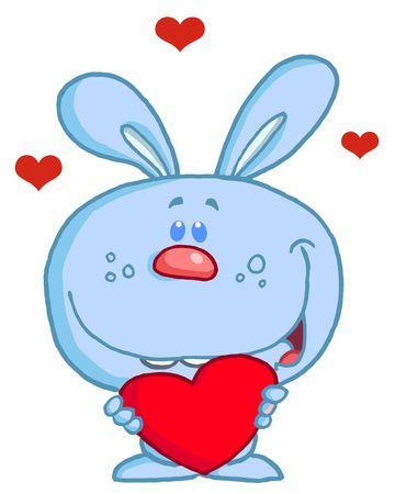 Romantic Blue Rabbit With Heart Vector