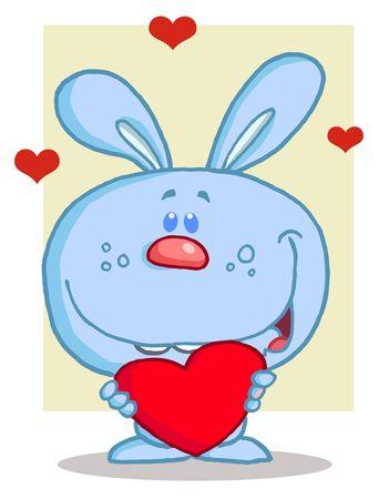 Happy Romantic Blue Rabbit With Heart Stock Vector - 6792760