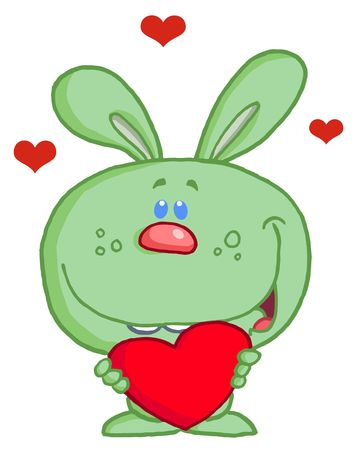 Romantic Green Rabbit With Heart Vector