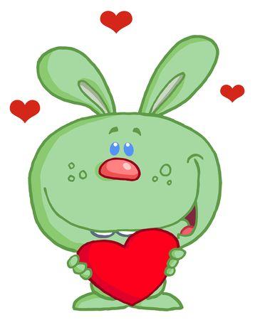 Romantic Green Rabbit With Heart Stock Vector - 6792726