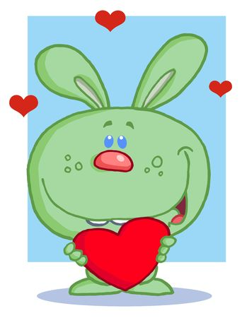 Happy Romantic Green Rabbit With Heart Vector