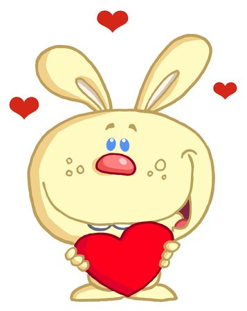 Romantic Yellow Rabbit With Heart Vector