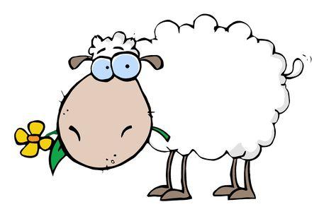 caricaturas de animales: Oveja blanca con una flor en su boca