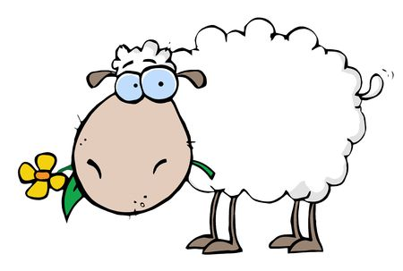 cartoon sheep: White Sheep Carrying A Flower In Its Mouth