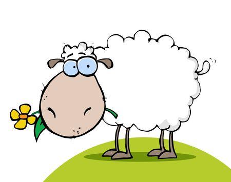 caricaturas de animales: Oveja blanca comer una flor en un Hill Vectores