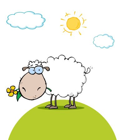 graphic illustration: Sheep With Flower In Mouth On A Sunny Day