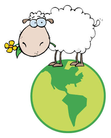 illustrated globe: White Sheep Standing On A Globe, Carrying A Flower In Its Mouth