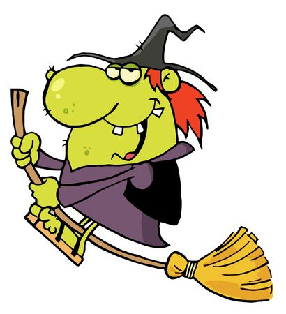 rides: Happy Witch Rides Broom Illustration