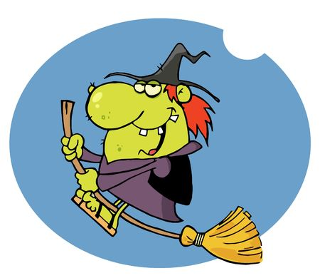 Happy Witch Rides Broom In Night Vector