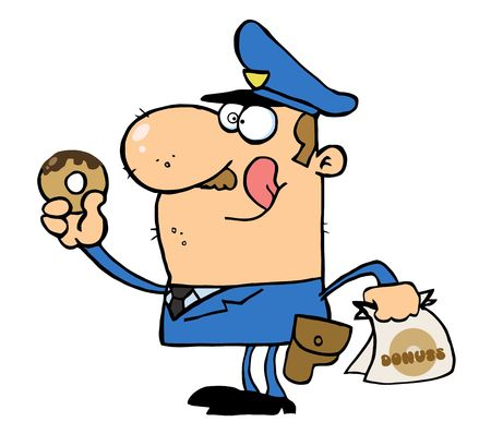 Happy Police Officer Eating Donut Stock Vector - 6792619
