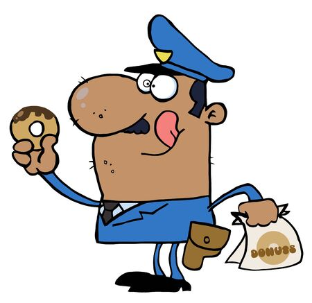 Happy African American Police Officer Eating Donut Vector