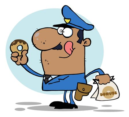 African American Police Officer Eating Donut Stock Vector - 6792700