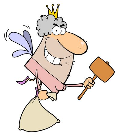 Tooth Fairy Flying With A Mallet And Bag Vector