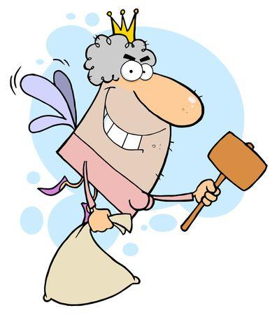 dientes caricatura: Hada de los dientes con un mazo y bolsa  Vectores