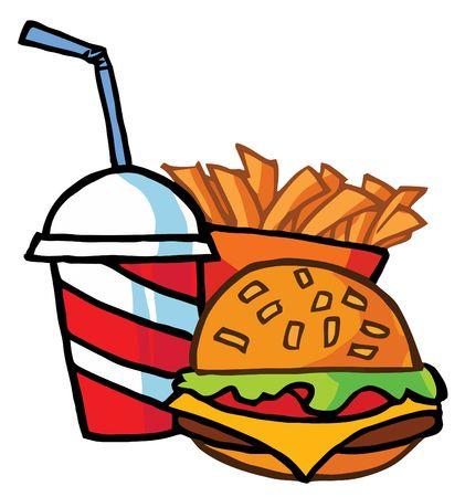 voedingsmiddelen: Cheeseburger met Cola en Franse frietjes