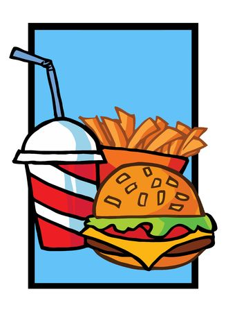 french fries: Cheeseburger With Drink And French Fries Illustration