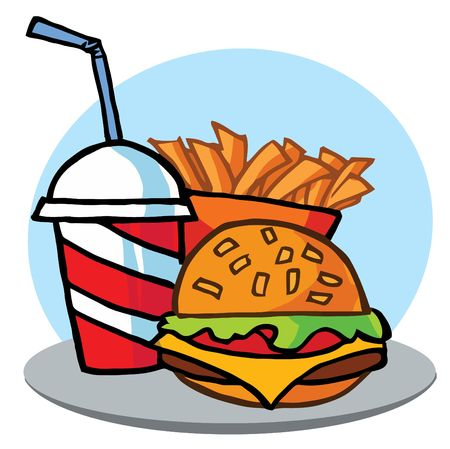 french fries: Cheeseburger With Drink And Fries Illustration
