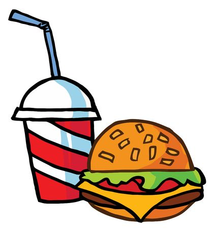 Cheeseburger Served With Cola Vector