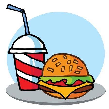 Cheeseburger Served With Drink Vector