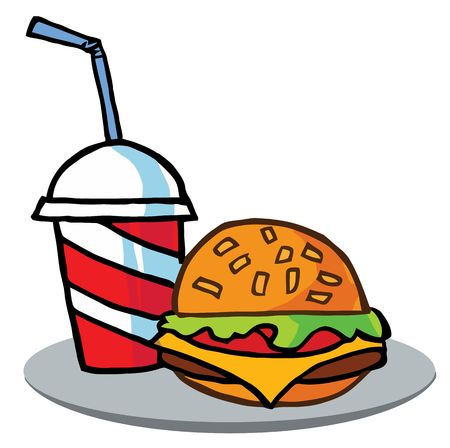 Cola And Cheeseburger On A Tray Stock Vector - 6792553