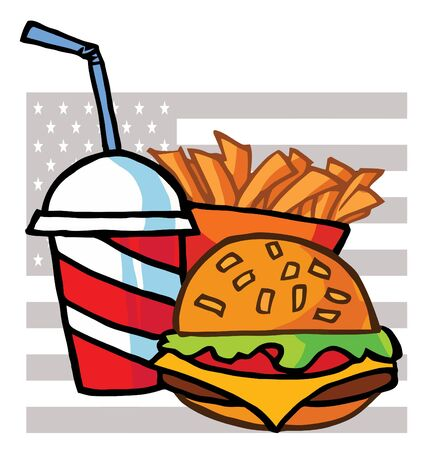 Drink, French Fries And Cheeseburger With An American Flag Vector