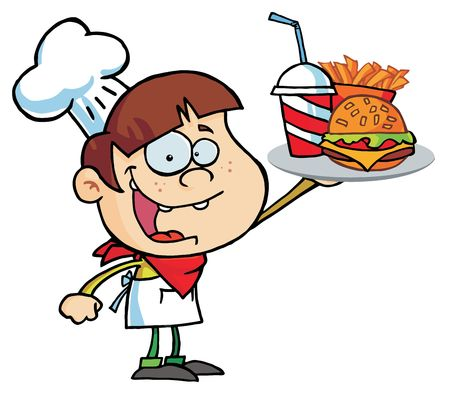 Caucasian Burger Boy Holding Up A Cheeseburger, Fries And Drink Stock Vector - 6792868
