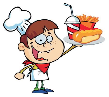 Caucasian Chef Boy Carrying A Hot Dog, French Fries And Drink Vector