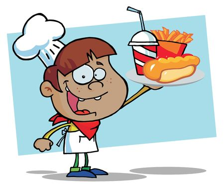 African American Chef Boy Carrying A Hot Dog, French Fries And Drink Vector