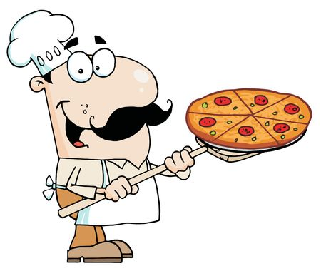 Happy Caucasian Chef Carrying A Pizza Pie On A Stove Shovel