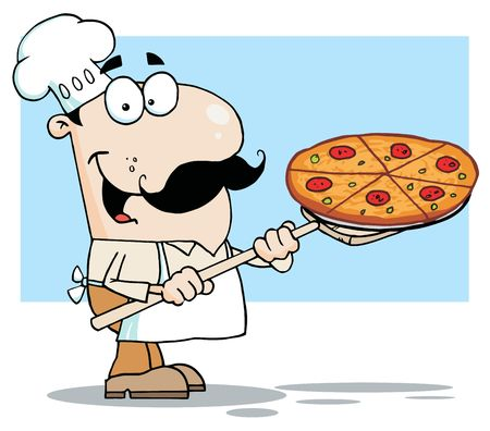 Happy White Chef Carrying A Pizza Pie On A Stove Shovel Illustration