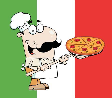 Happy Caucasian Chef Presenting His Pizza Pie Ilustração