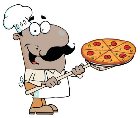 Happy African American Chef Carrying A Pizza Pie On A Stove Shovel Vector