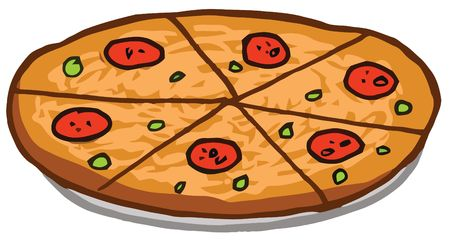 Sliced Pepperoni Pizza Pie On A Tray