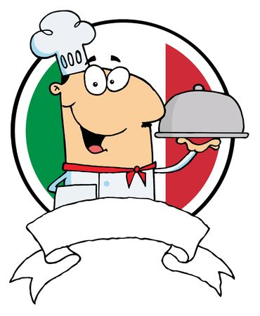 serving food: Cartoon Male Chef Serving Food In A Sliver Platter In Front Of Flag Of Italy Illustration