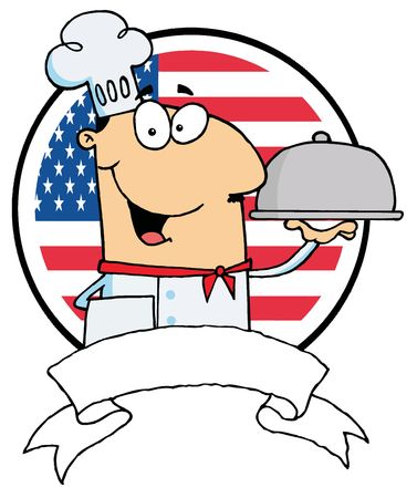 sliver: Cartoon Male Chef Serving Food In A Sliver Platter In Front Of Flag Of USA