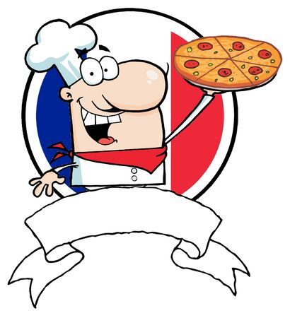 text box: Cartoon Logo-Proud Chef Holds Up Pizza In Front Of Flag Of France