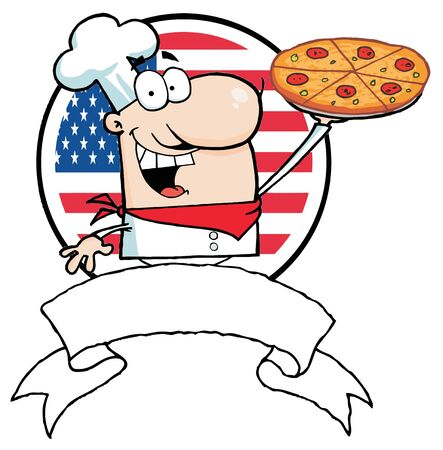 Cartoon Proud Chef Holds Up Pizza In Front Of Flag Of USA
