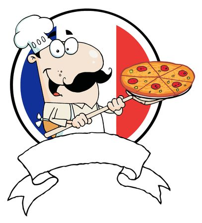 Cartoon Proud Chef Inserting A Pepperoni Pizza In Front Of Flag Of France