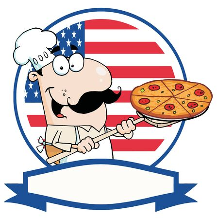 Cartoon Proud Chef Inserting A Pepperoni Pizza In Front Of Flag Of USA