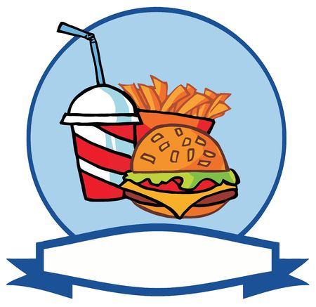 burger with fries: Cartoon Hamburger Drink And French Fries