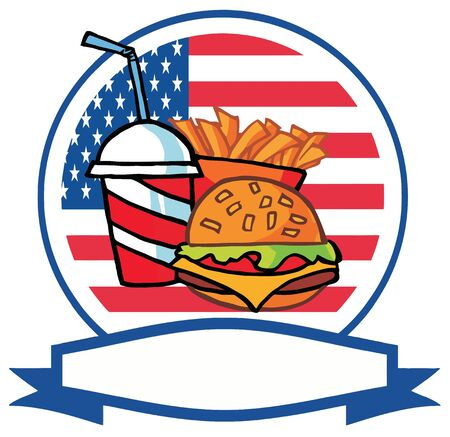 french flag: Cartoon Hamburger Drink And French Fries In Front Of Flag Of USA Illustration
