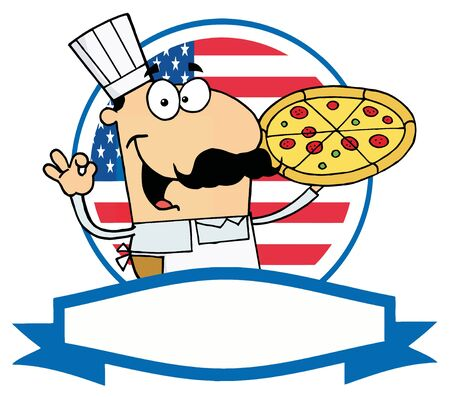 Pleased Male Pizza Chef With His Perfect Pie In Front Of Flag Of USA Vector
