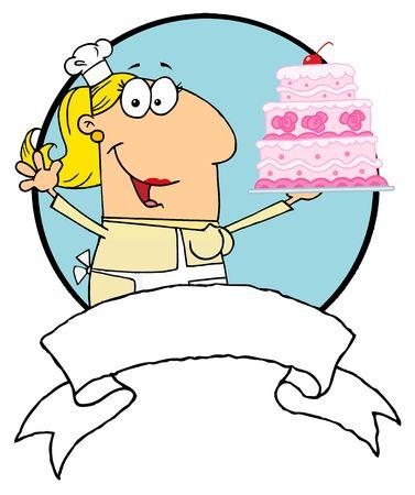 Cartoon Logo Mascot-Cake Baker Woman Vector
