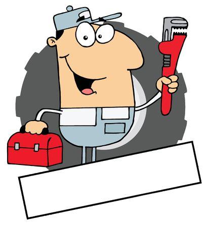 carrying box: Dibujos animados logo mascota-Man con una llave y la caja de herramientas