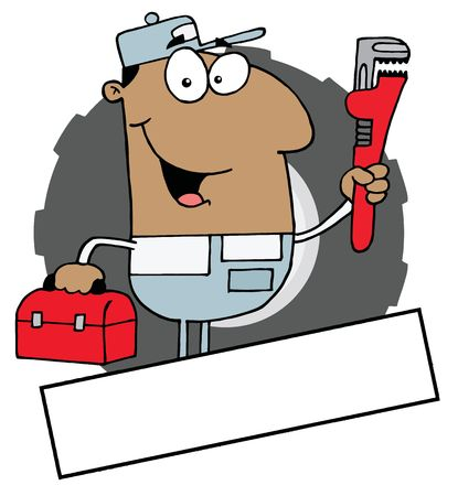 Cartoon Logo Mascot-African American Man Carrying A Wrench And Tool Box Vector