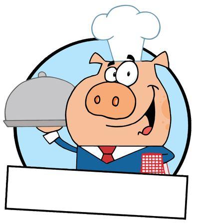 Cartoon Logo Mascot-Waiter Pig Serving Food On A Platter Vector
