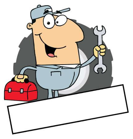 handy man: Cartoon Logo mascotte-Mechanic uomo con una casella degli strumenti E Wrench Vettoriali