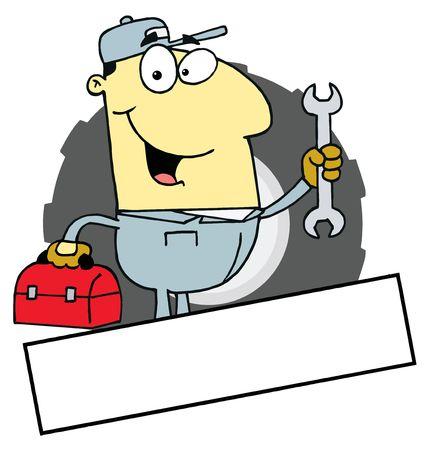 handy man: Cartoon Logo mascotte-Asian meccanico uomo con una casella degli strumenti E Wrench