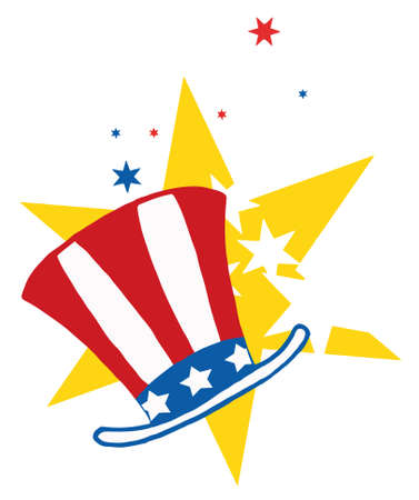 inaugural: American Patriotic Hat With Stars Illustration