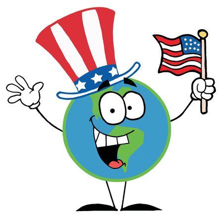 Dibujos de personajes de globo con bandera estadounidense Foto de archivo - 6792598